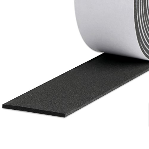 Door Weather Stripping, Foam Strips with Adhesive Weather Stripping for Windows and Doors Sound Proof Closed Cell Foam Tape 2 Inch Wide X 1/8 Inch Thick X 16 Feet Long (2in 1/8in)