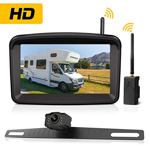 Wireless Backup Camera and Monitor License Plate Mounted HD Digital Signal Reversing Observation Camera Night Vision Waterproof Rear View for 5