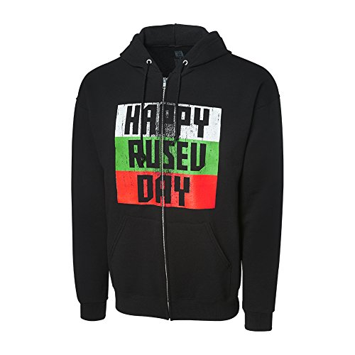 WWE Authentic Wear WWE Rusev Happy Rusev Day Full Zip Hoodie Sweatshirt Black Small by WWE Authentic Wear