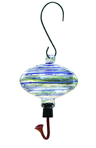 Gardman BA05702 Oval Blue Swirl Glass Hummingbird Feeder, 6'' Long x 6'' Wide x 7'' High by Gardman