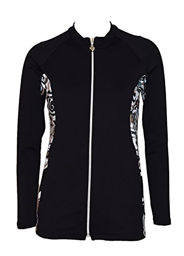Private Island Hawaii Women UV Wetsuits Long Sleeve Rash Guard Top Zipper Jacket (XXX-Large, Black Wth - Wetsuit Size