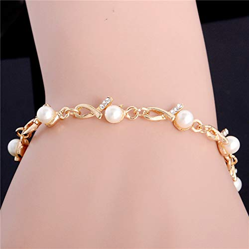 Nitlovely Alloy Fashion Women Simulated Pearl Jewelry Simple Crystal Geometric Charm Bracelet Factory Wholesale ()