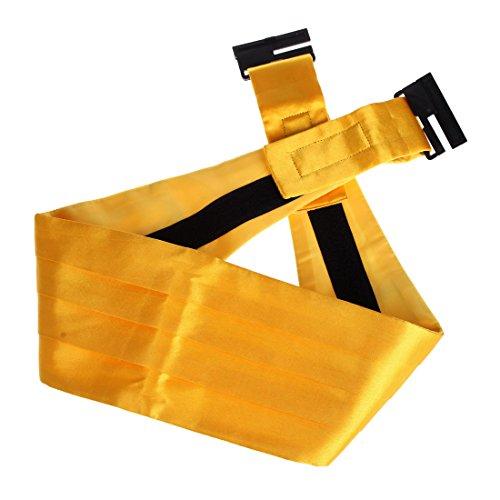 DIB7E01J Gold Solid Woven Microfiber Whole Sale For Marriage Mens Cummerbund 1 Pack By Dan Smith (Gold Cummerbund)