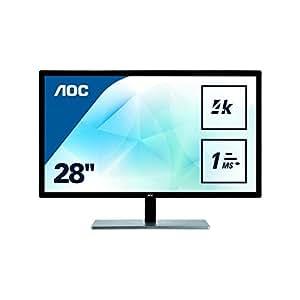 AOC U2879VF Featured 28'' 4K UHD 2160p LED-Backlit LCD Monitor, Black/Silver