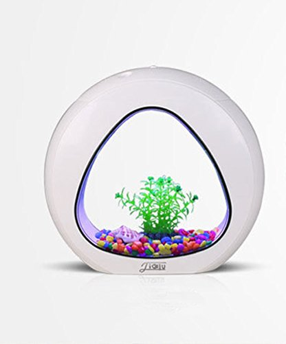 Mini Aquariums Goldfish Bowl Desktop,4L,Touch type LED Lamp,Multi-functions: Aeration, filtration, pumping, built-in filter cotton.Acrylic, By ADM-LC(White)