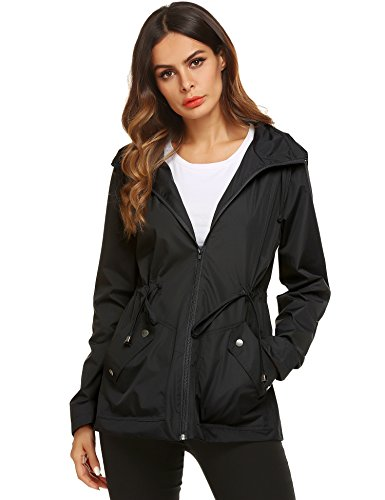 ZHENWEI Rain Jacket Women Hooded Zip Up Athletic Sport Coat Black Small ()