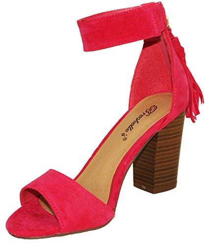 Breckelles Womens Pensee-32 Faux Suede Ankle Cuff Open Toe Chunky Block High Heel Sandals Fuchsia EzYtKPj