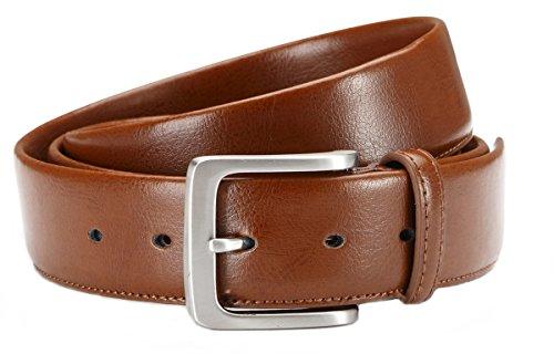 Herren Anzug-Gürtel hochwertiger Business-Gürtel 3,8 cm Breite - Individuell kürzbar (Bundweite: 95cm = Gesamtlänge: 110cm, Camel)