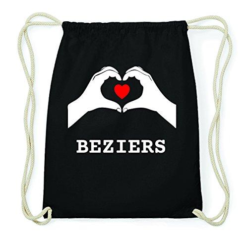 JOllify BEZIERS Hipster Turnbeutel Tasche Rucksack aus Baumwolle - Farbe: schwarz Design: Hände Herz