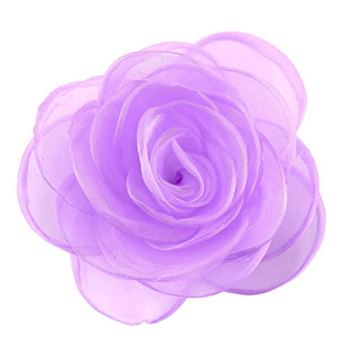 (Merdia Women's Lovely Flower Hair Clip Rose Brooches for women Purple)