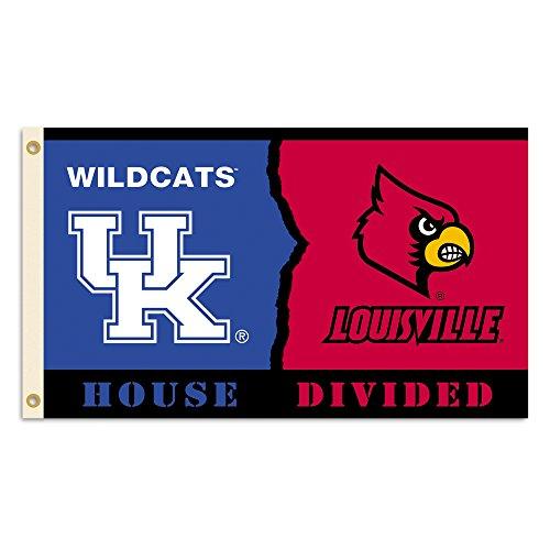 (BSI NCAA Kentucky Wildcats/Louisville Cardinals House Divided 3' x 5' Flag with Grommets)