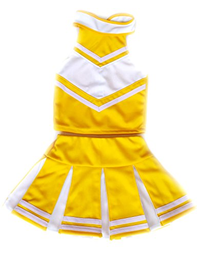 Little Girls' Cheerleader Cheerleading Outfit Uniform Costume Cosplay Pale Yellow / White (M / 5-8) - Uniform Costumes