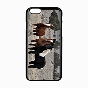 iPhone 6 Black Hardshell Case 4.7inch horses herd animals trees sky Desin Images Protector Back Cover