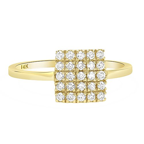 Square Shape Diamond Accented Ring - 1