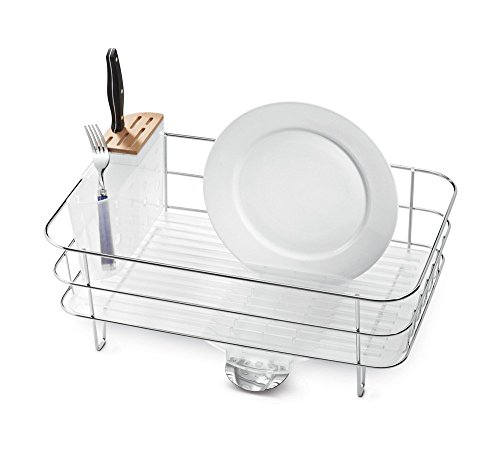 - simplehuman Kitchen Slim Wire Frame Dish Rack With Removable Spout, Stainless Steel