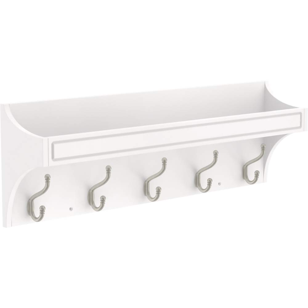 Franklin Brass R41606-PWN-R 28'' Classic Arch Trayed Hook Rail, Pure White and Satin Nickel