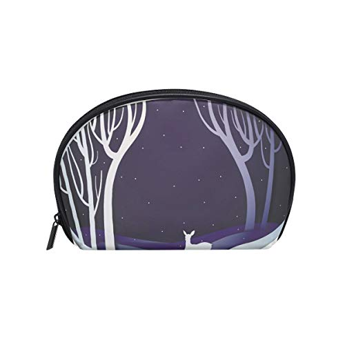 Senya Travel Cosmetic Bag Small Makeup Portable Carry Case Pouch Girls Women Personalized Organizer Tote Bag For Jewelry Toiletries Winter Forest Night Landscape Young Deer Fairy Tale]()