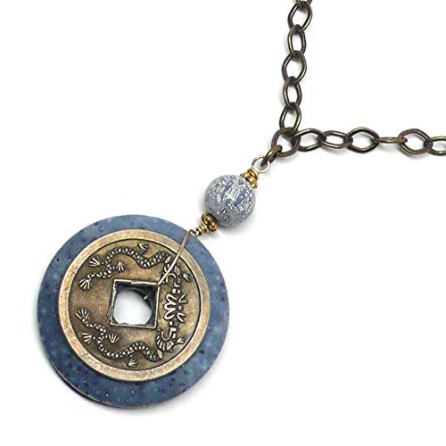 - Denim Blue Sponge Coral Chinese Replica Coin Chain Necklace 25 Inches