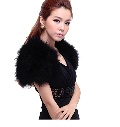 Real Ostrich Feather Cape With Silk ribbon Scarf Party protect your shoulders (black) ()