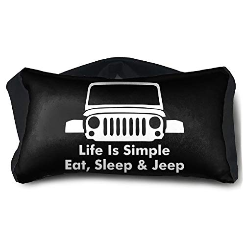 Life is Simple Eat Sleep Jeep Travel Pillow,Portable Ergonomic 2-in-1 Pillow,Eye Patch,Convertible Rest Neck Support Pillow