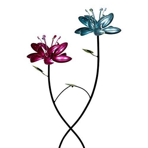 - Exhart Double Lotus Flower Wind Spinners Garden Stake - 2 Metallic Flower Spinners in Colorful Purple and Blue Metal Design Spin - Yard Art Décor, 20 by 47 Inches