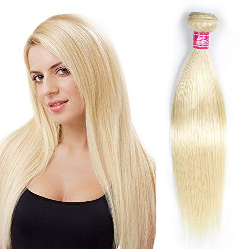 1 Light Platinum - 613 Blonde Brazilian Straight Human Hair 1 Bundle Andromeda Platinum Gold Blonde Color Human Hair Extensions (12Inch)