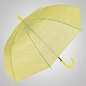Imitación pescado Escalas Umbrella Ganchos Paraguas de mango largo Paraguas transparente Abrir automáticamente el paraguas Princesa Umbrella ( Color : Amarillo )