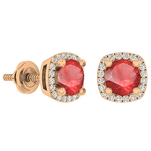 Dazzlingrock Collection 10K 5 MM Each Round Gemstone White Diamond Ladies Halo Stud Earrings, Rose Gold