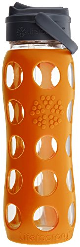 Lifefactory 22-Ounce BPA-Free Glass Water Bottle with Straw Cap & Silicone Sleeve, Orange
