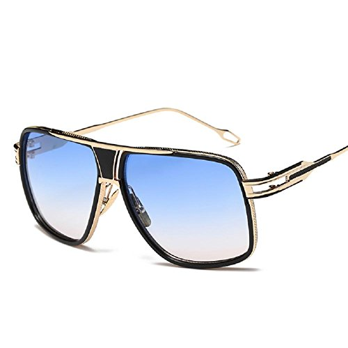 AOME Square Aviator Sunglasses Metal Frame Goggle Brand Designer (Gold&Gradient Blue, - Aviators Square Frame