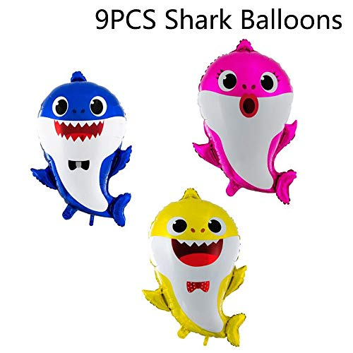 Baby Little Shark Balloons 9PCS Birthday Decorations Party Supplies Baby Showers