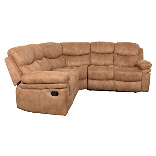 Brooklyn Sectional Sofa Brooklyn Recliner Sectional Sofa with 2 USB Ports, 2 Stainless Steal Cup Holders, Soft Air Leather (Sahara Latte)