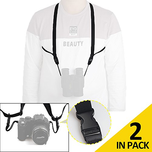 Pack of 2 COSTIN Binocular Harness Strap, Great Accessory Kit for Binoculars Camera and Rangefinders, Quick Release & One Size Fits All Bino/Cam - Webbing, Black