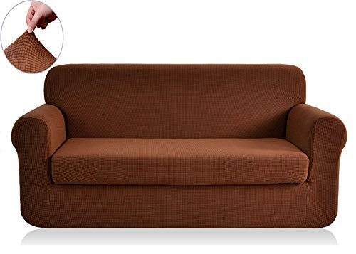 Chunyi 2-Piece Jacquard Polyester Spandex Sofa Slipcover (Loveseat, Coffee) (Couch And Loveseat Sets Brown)
