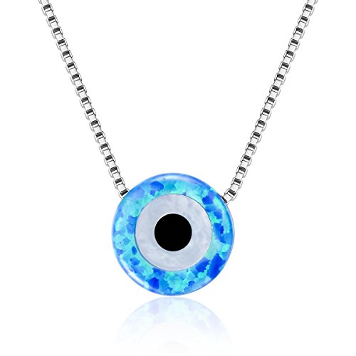 Nazar Evil Eye (BAMOER Platinum Plated 925 Sterling Silver Valentine's Day Gifts Multicolor Opal Eternity Evil Eye Pendant Necklace for Women Teen Girls)