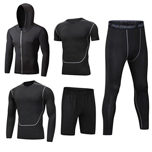 Dooxi Mens 5pcs Sports Gym Fitness Clothing Set Hoodies Jackets+Long...