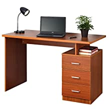 Fineboard FB-D06-CH Home Office Desk with 3 Drawers, Cherry Finish Cherry