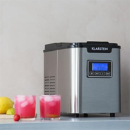 Klarstein Icemeister Machine à glaçons • Prêts en 15 minutes • Jusqu'à 12 kg de glace en 24 heures • Trois tailles de glaçon (small, medium, large) • Réservoir de 1,1L • Acier • Minuteur • Auto-netoyant • Récipient en glace de 0,4 litres • Blanc 4 litres •