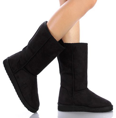 SODA Women's Soong Comfort Faux Suede Fur Mid- Calf Flat Boot, NAT, 8 M US (Premium Black, 7.5 M)