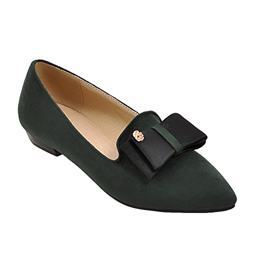 Latasa Womens Faux Nubuck Bow Pointed Toe Flats Pumps Dark Green culst
