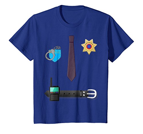 Price comparison product image Kids Police Officer Cop Costume T-shirt 8 Royal Blue