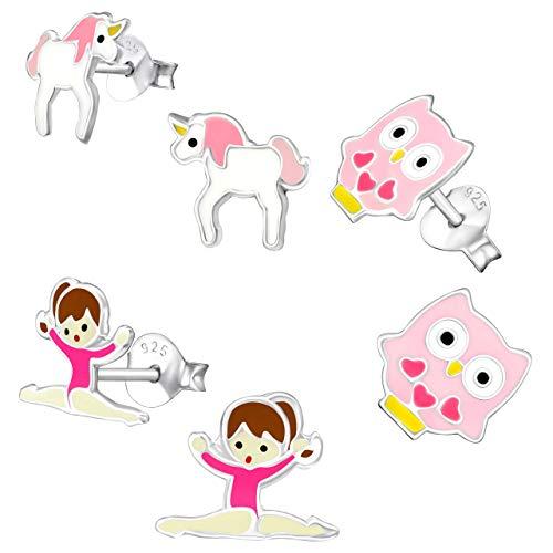 - 925 Sterling Silver 3 Pairs Owl, Unicorn, Gymnast Pink Children's Stud Earrings 28470