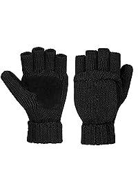 TraderPlus Winter Warm Touchscreen Gloves Wool Mittens for Women Men (Black)