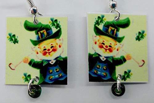Leprechaun, Irish Earrings, St. Patrick's Day, Green Shamrock Earrings, Designed by Artist, Patti Siehien, Fast Shipping ()