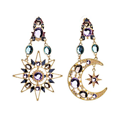 MIXIA Exaggerated Luxury Sun Moon Stars Drop Earrings Rhinestone Punk Earrings for Women Jewelry Golden Boho Vintage Earrings (A)