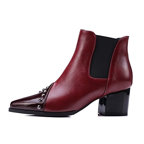 Allhqfashion Toe Boots Closed Material Solid Top Low Soft Pointed Heels Red Women's Kitten tPxAfWrnt4