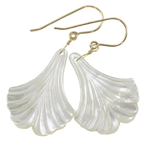 14k Yellow Gold Mother of Pearl Earrings White Carved Wide Fan Leaf Shape MOP Drops 14k Yellow Gold Mop
