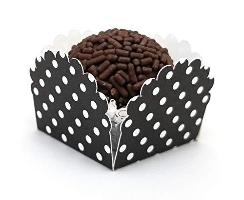 Set of 12 Mini Petal Box Made in USA with high Quality Polka dots cardstock (Forminha de Brigadeiro) (Black)