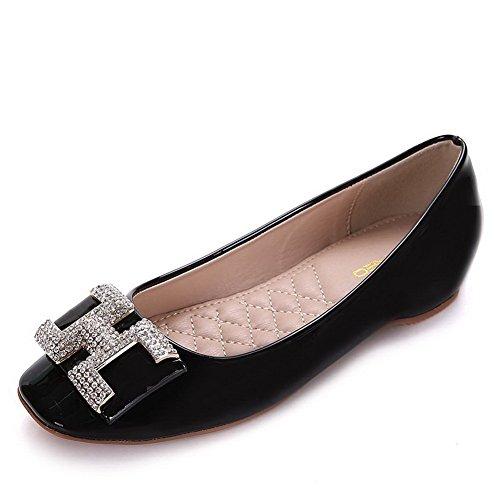 AalarDom Damen Weiches Material Ziehen Auf Quadratisch Zehe Niedriger Absatz Pumps Schuhe Schwarz-Lackleder