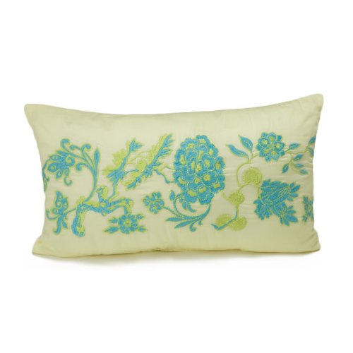 Floral Oblong Decorative Pillow (Amy Butler Morning Blossom Decorative Pillow 24 by 14 Inches Rectangle (Cream))